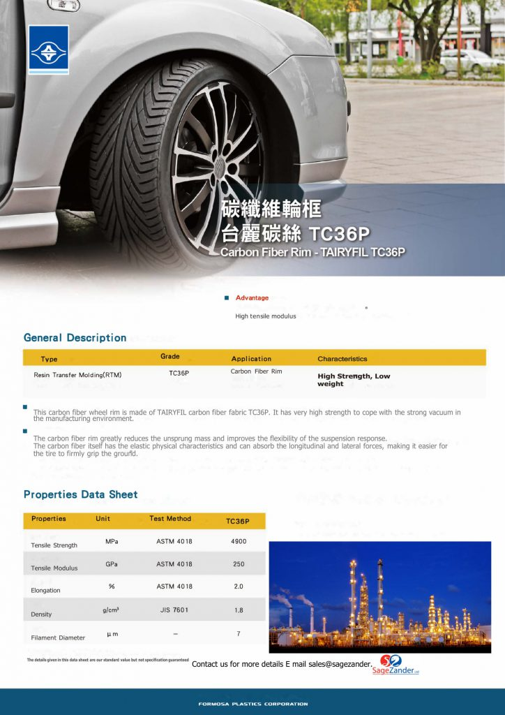 Brochure of an Automotive wheel rim supplied by SageZander