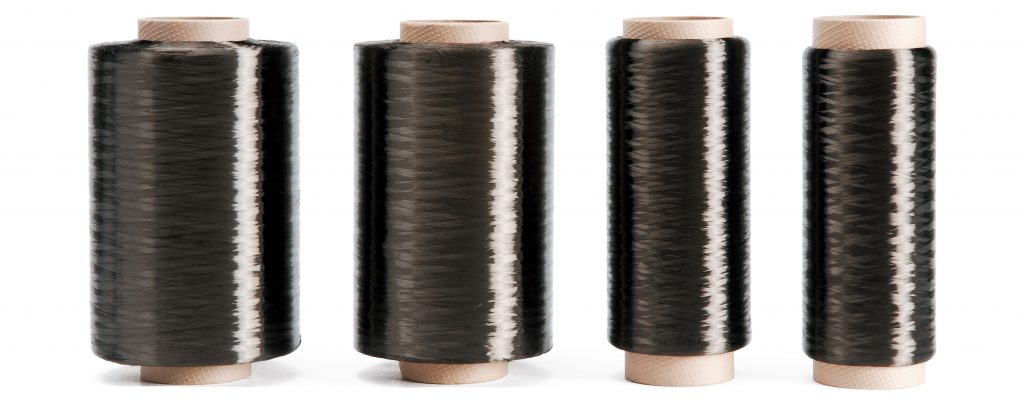 Line of high quality spools of black carbon fiber yarn available to order from SageZander