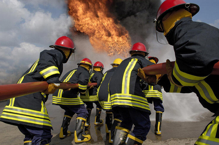 Fire Brigade with Flame Resistant clothing yarn material supplied by SageZander - yarn wholesale UK