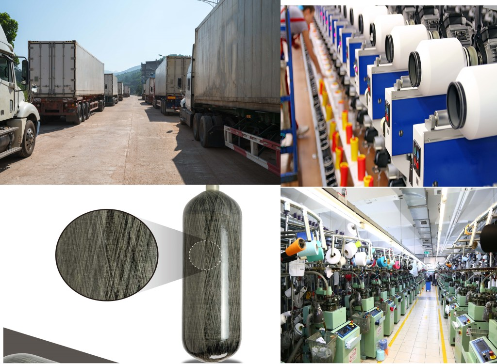 Carbon Fibre Yarn, Transport and polyester yarns